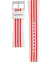 AADH2666 ADH2666 24mm White Textile-Leather Strap With Red Logo Stripes