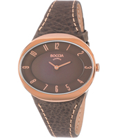 3165-20  36mm Rose gold & brown oval titanium ladies watch