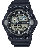 AEQ-200W-1AVEF  51.40mm Watch with world map for world time