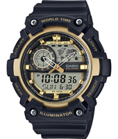 AEQ-200W-9AVEF  54.40mm Watch with world map for world time