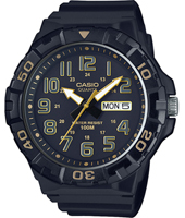 MRW-210H-1A2VEF MRW Series 53.10mm Black & Gold Resin Quartz Watch With DayDate