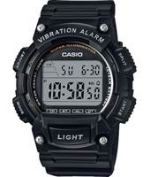 W-736H-1AVEF  47.10mm Black digital watch with dual time & vibration alarm
