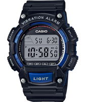 W-736H-2AVEF  47.10mm Black digital watch with dual time & vibration alarm