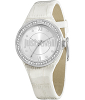 R7251201502 Just Shade 34mm Silver ladies watch with crystals and white leather strap