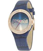 R7251201503 Just Shade 34mm Gold ladies watch with blue dial and leather strap