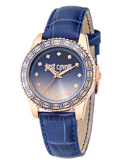 R7251202505 Just Sunset 36mm Rose gold ladies watch with blue dial and leather strap
