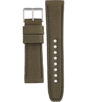 59-S52905  22mm Green textile over leather strap