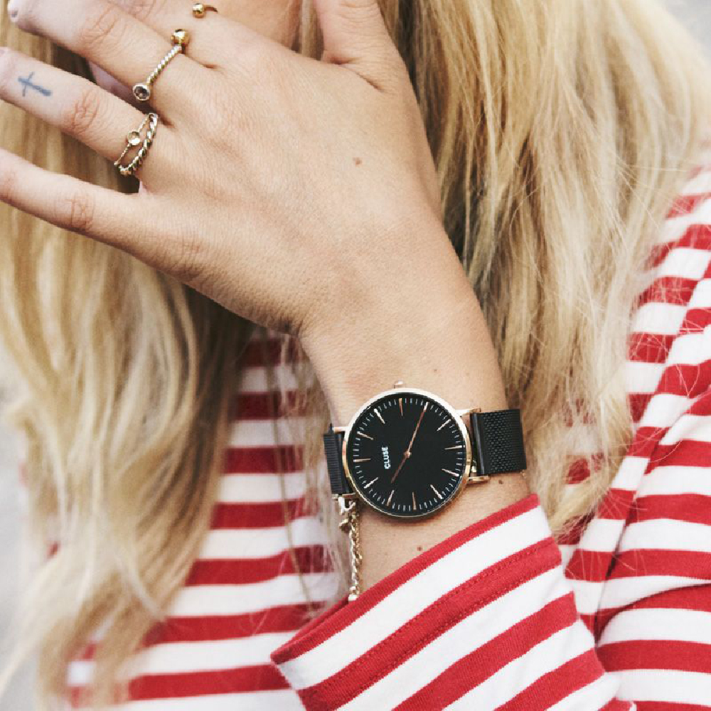 Rose Gold   Black Ladies Watch with mesh Bracelet Collection Automne-Hiver  Cluse 68edd0adae04
