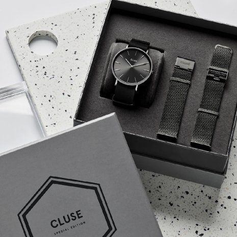 Gift Set Gents Quartz Watch with extra Mesh Strap Collection Automne-Hiver Cluse