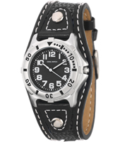 910032 Boys Sport Silver boys watch with black leather strap