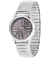 110034 Love Flower Silver & Dark Grey Kids Watch