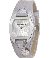120059 Shiny Flower Silver Girl Cuff Watch