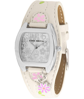 120060 Shiny Flower Beige Girls Cuff Watch