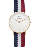 0907DW Classy Cambridge 26mm Small rose gold watch with textile strap