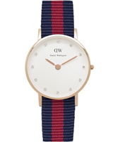 0905DW Classy Oxford 26mm Small rose gold watch with textile strap