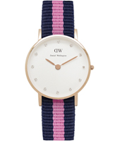 0906DW Classy Winchester 26mm Small rose gold watch with textile strap