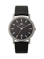 IQ13Q171  34mm Titanium & Black Watch with Date on leather Strap