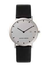 IQ19Q272   34mm Titanium Watch with date on Black Leather Strap