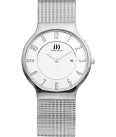 IQ69Q732   36mm Steel & White Watch with Date on a Mesh Strap
