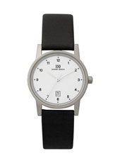 IV12Q170   28mm Classic Steel ladies watch with Date on Black Leather Strap