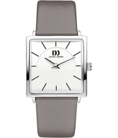 IV14Q1058  26.50mm Square Ladies Watch on Grey Leather Strap