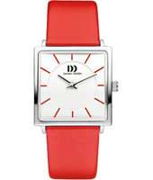 IV24Q1058  26.50mm Square Ladies Watch on Red Leather Strap