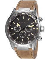 ES108021004 Alaric  45mm Black & Steel Military Chrono with Date on Brown Strap