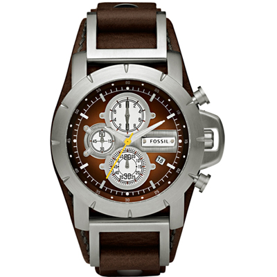 Fossil Jake Steel & Brown Chrono with Date on Cuff Strap