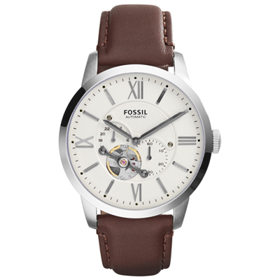 Fossil Townsman White automatic gents watch with brown leather strap