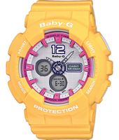 BA-120-9BER Standard analog-digital 43.40mm Yellow ladies G-Shock with world timer