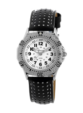 KQ12Q434 Boy Scuba  Steel & White Diver Style Kids Watch with Leather Strap