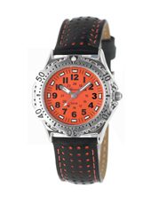 KQ26Q434 Boy Scuba  Steel & Orange Diver Style Kids Watch with Leather Strap