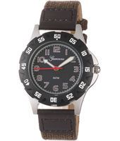 KQ29Q448 Boy Scuba Black Sports Watch with Brown Textile on Leather Strap