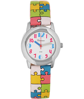 KV12Q409 Puzzlemania 28mm Kids Quartz Watch with Leather Strap