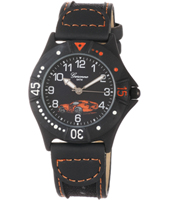 KQ26Q452 Racer Watch with Sports car print on Leather Strap