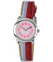 KV28Q450 Striped Red & Blue Girls Watch with Leather Strap