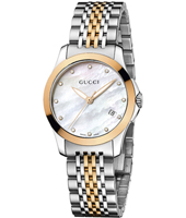 YA126514 G-Timeless 27mm Mother of Pearl Dial set with 12 Diamonds in Bicolor Ladies Watch
