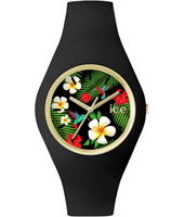 ICE.FL.PAR.U.S.15 Ice-Flower Paradise 41mm Gold watch with black silicone strap