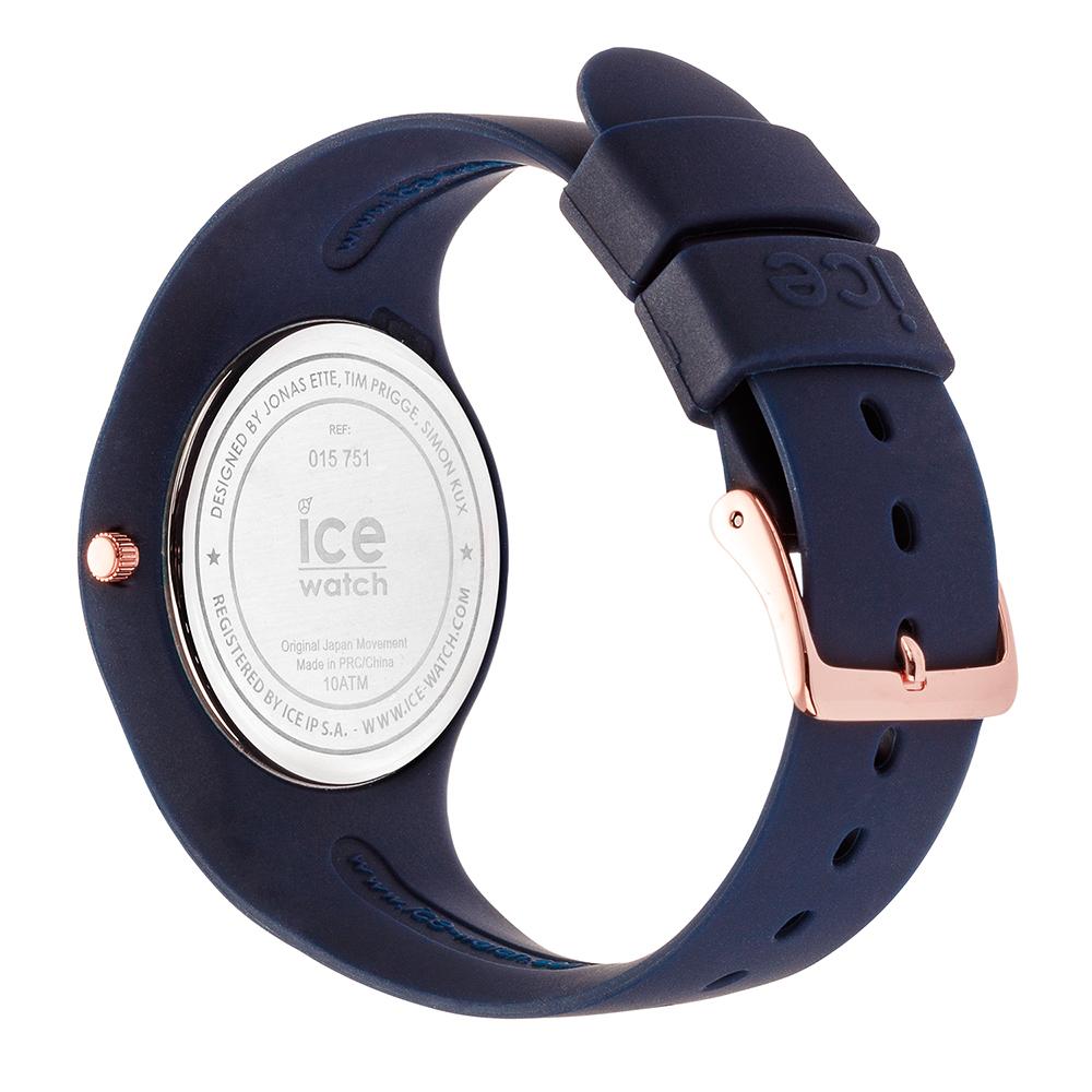 0ed147e399323 Blue & Rose Gold Silicone Watch Size Medium Collection Printemps-Eté Ice- Watch