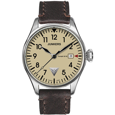 Junkers Cockpit  Brown & Steel Quartz Pilot Watch with Date