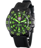 A.3067 Navy Seal Colormark 44mm Black/Bright Green Carbon Dive Watch, Rubber Strap
