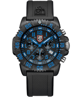 A.3083 Navy Seal Colormark  44mm Black/Bright Blue Carbon Dive Chrono, Rubber strap