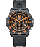A.3089 Navy Seal Colormark  44mm Black/Orange carbon Dive Chrono, Rubber Strap