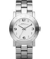 MBM3054 Amy  36mm Silver & White Ladies Watch with Crystal Indexes