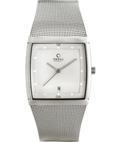 V102GCCMC V102  34mm Square Steel & White Watch with Date, Mesh Strap