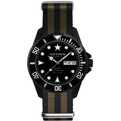 Oxygen Diver 44 Moby Dick Steel Gents Diving Watch with DayDate