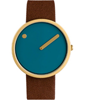 43376  40mm Design watch with brown leather strap and blue dial