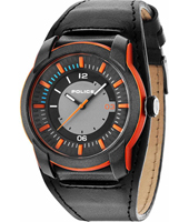 PL14438JPOB-13 Apollo 45mm Matte resin watch with leather strap