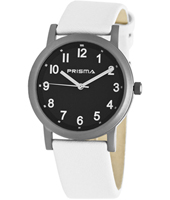 P.2135.506G  38mm Black titanium watch with white leather strap