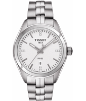 T1012101103600 PR100 33mm Silver watch with white dial and steel bracelet